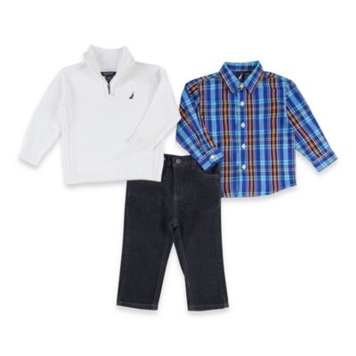 Nautica Kids® Size 12M 3-Piece Sweater, Shirt, and Pant Set in White/Indigo