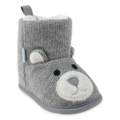 Capelli New York Size 0-6M Bear Knit Slipper in Grey