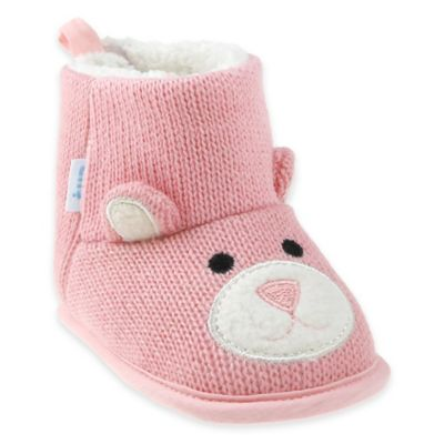 Capelli New York Size 0-6M Bear Knit Slipper in Pink