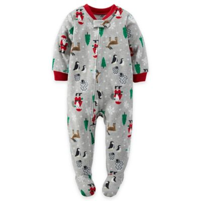 Carter's® Size 12M Christmas Fleece Footed Pajama in Grey