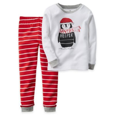 "Carter's® Size 18M 2-Piece ""Santa's Helper"" Penguin Pajama Set"