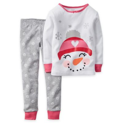 Carter's® Size 24M 2-Piece Snowman Long-Sleeve Pajama Set in White