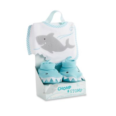 Baby Aspen Chomp and Stomp Shark Bib and Booties Gift Set