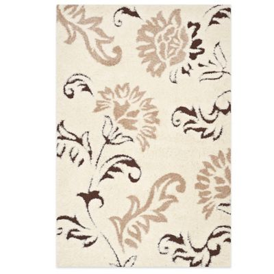 Safavieh Talley 5-Foot 3-Inch x 7-Foot 6-Inch Shag Rug in Cream/Beige