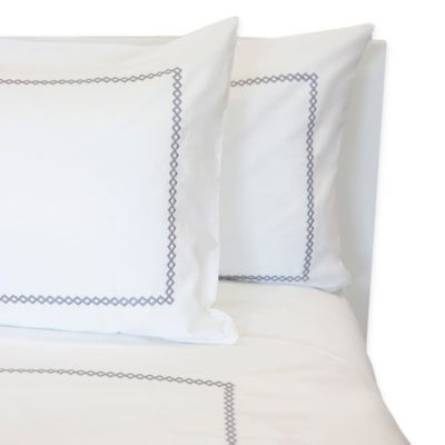T-Y Group Diamond Embroidered King Duvet Cover in White/Grey