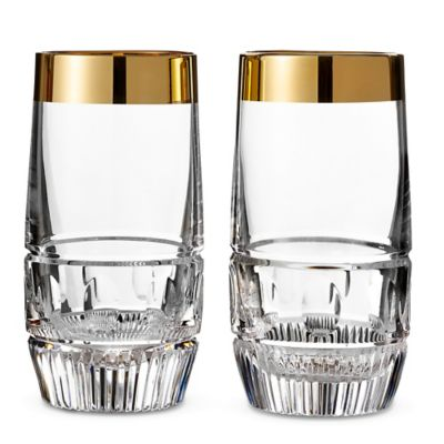 Waterford® Mixology Mad Men Edition Olson Highball Glasses in Gold (Set of 2)
