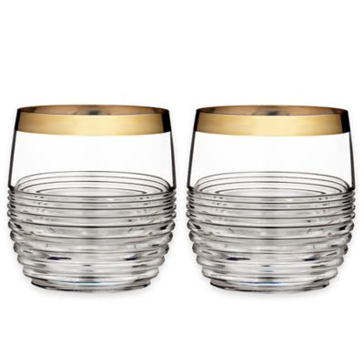 Waterford® Mixology Mad Men Edition Circon Double Old Fashioned Glasses in Gold (Set of 2)