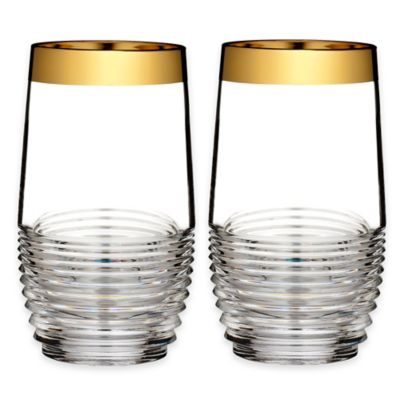Waterford® Mixology Mad Men Edition Circon Highball Glasses in Gold (Set of 2)