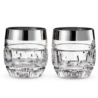 Waterford® Mixology Mad Men Edition Olson Double Old Fashioned Glasses in Platinum (Set of 2)