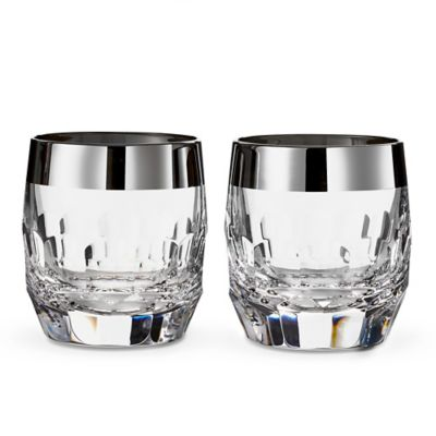 Waterford® Mixology Mad Men Edition Draper Double Old Fashioned Glasses in Platinum (Set of 2)