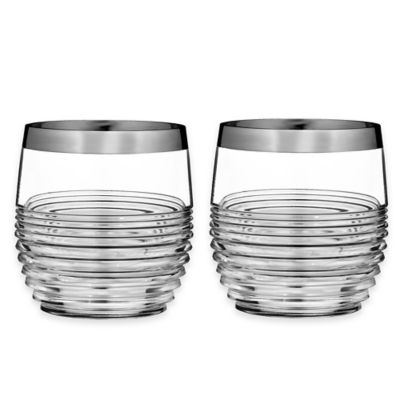 Waterford® Mixology Mad Men Edition Circon Double Old Fashioned Glasses in Platinum (Set of 2)