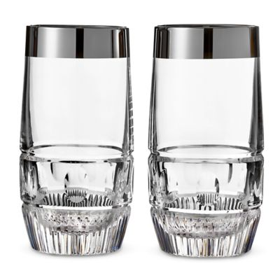 Waterford® Mixology Mad Men Edition Olson Highball Glasses in Platinum (Set of 2)