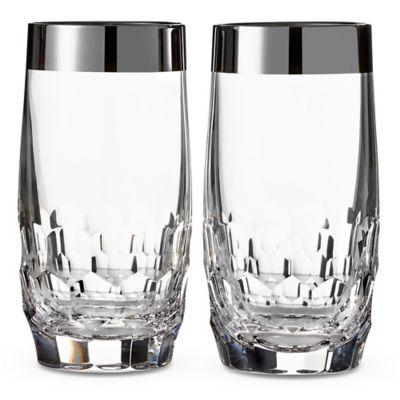 Waterford® Mixology Mad Men Edition Draper Highball Glasses in Platinum (Set of 2)