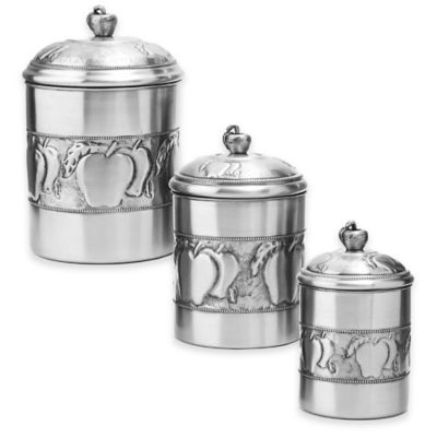 Old Dutch International 3-Piece Apple Canister Set in Pewter