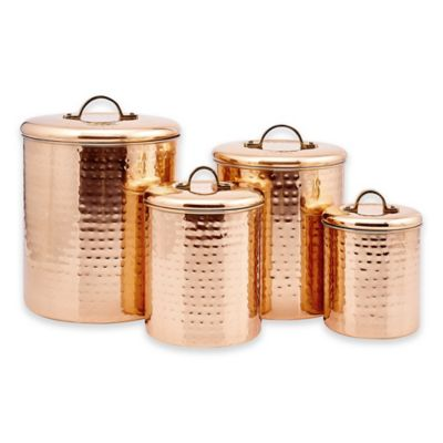 Old Dutch International Décor Hammered Copper 4-Piece Canister Set