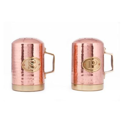 Old Dutch International Copper-Plated Hammered Salt and Pepper Shaker Set