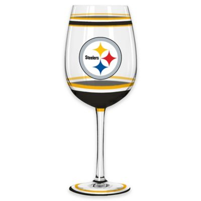 NFL Pittsburgh Steelers Brush Painted Wine Glass