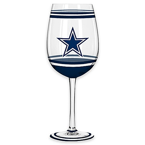 nfl dallas cowboys brush painted wine glass bed bath