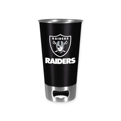 NFL Oakland Raiders Metal Pint Glass with Built-In Bottle Opener