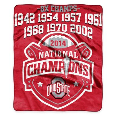 Ohio State University 2014 National Championship Raschel Throw Blanket
