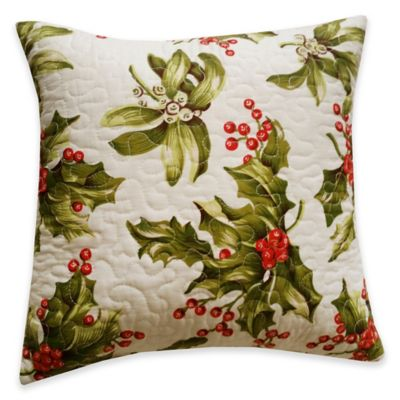 Mistletoe Square Throw Pillow in Cream