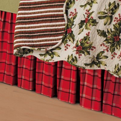 Mistletoe Bed Skirt in Plaid
