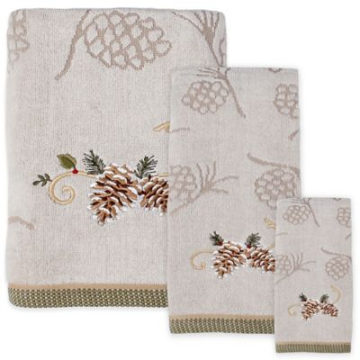 Pinehurst Jacquard Embroidered Bath Towel in Wheat