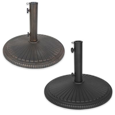 Oakland Living Sunfan Heavy Duty Cast Iron Umbrella Stand in Black