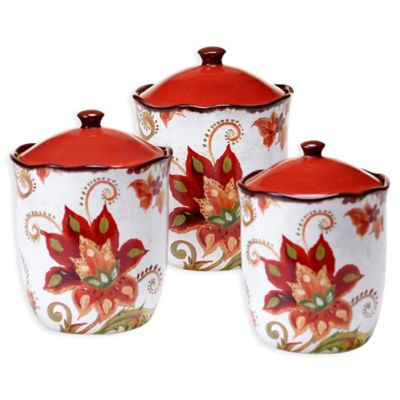 Certified International Spice Flowers 3-Piece Canister Set