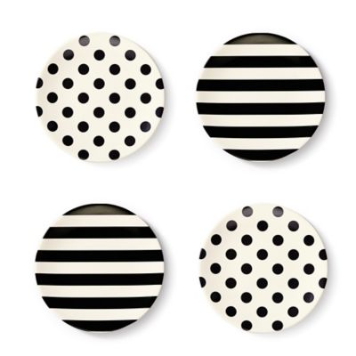 kate spade new york Raise a Glass 4-Piece Tidbit Plate Set in Black/White
