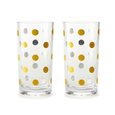 kate spade new york Raise a Glass Acrylic Highball Glasses in Gold Dots (Set of 2)