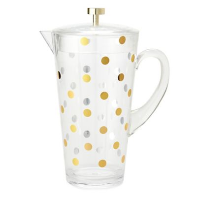 kate spade new york Raise a Glass Acrylic Pitcher in Gold Dots