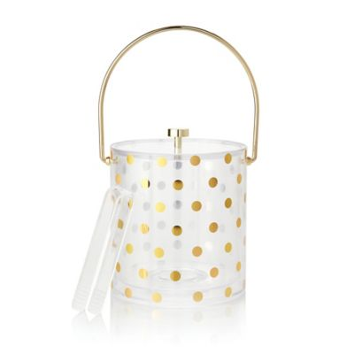 kate spade new york Raise a Glass 2-Piece Acrylic Ice Bucket and Tong Set in Gold Dots