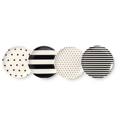 kate spade new york Raise a Glass 4-Piece Melamine Coaster Set in Black/White