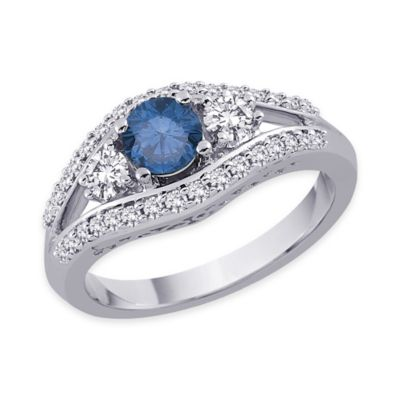 Blue White Shank Ring