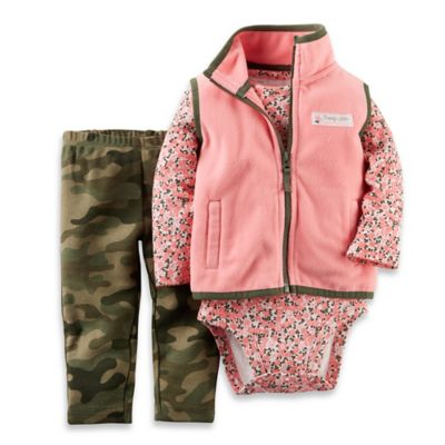 Carter's® Size 3M 3-Piece Microfleece Vest, Floral Bodysuit, and Camo Pant Set