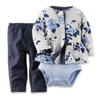 Carter's® Size 3M 3-Piece Flower Cardigan, Bodysuit, and Denim Pant Set in Grey