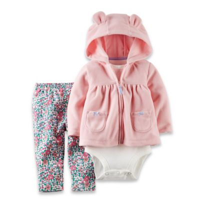 Carter's® Size 6M 3-Piece Hoodie, Bodysuit, and Floral Pant Set in Pink/Blue