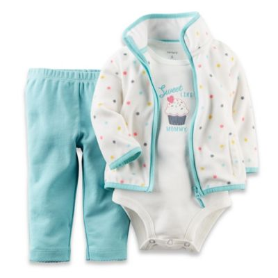 Carter's® Newborn 3-Piece Cupcake Cardigan, Bodysuit, and Pant Set in Blue/Ivory