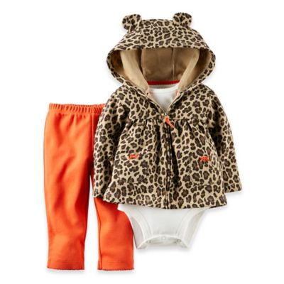 Carter's® Size 6M 3-Piece Hooded Cheetah Cardigan, Bodysuit, and Pant Set in Brown/Orange