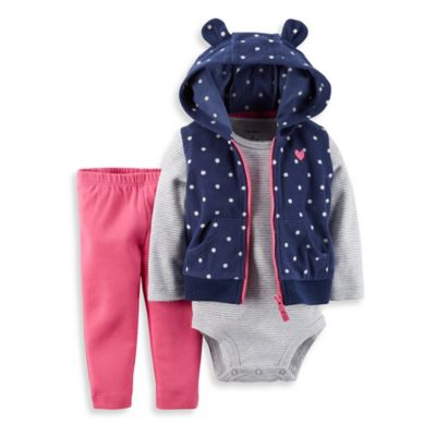 Carter's® Size 12M 3-Piece Hooded Dots Vest, Bodysuit, and Pant Set in Navy/White