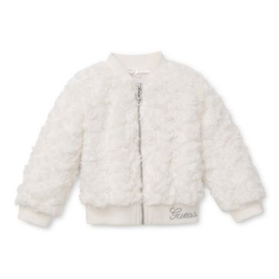 Guess® Size 4T Rosette Faux Fur Zip-Up Jacket in White