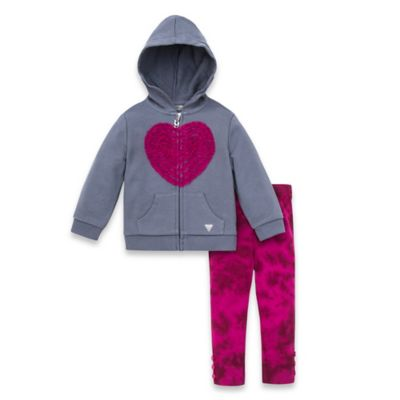 Guess® Size 12M 2-Piece Heart Hoodie and Tie Dye Legging Set in Grey/Magenta