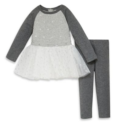 Guess® Size 4T 2-Piece Tutu Dress and Footless Legging Set in Grey