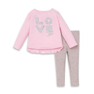 """Guess® Size 12M 2-Piece """"LOVE"""" Ruffled Top and Striped Legging Set in Pink/Grey"""