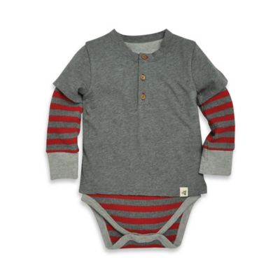 Burt's Bees Baby® Size 3-6M Organic Cotton Long-Sleeve Striped Henley Bodysuit in Grey