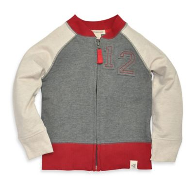 Burt's Bees Baby® Size 4T Organic Cotton French Terry Baseball Jacket in Grey/White/Red