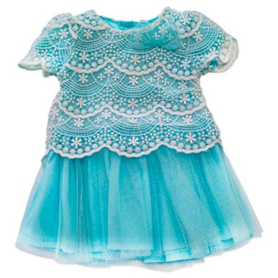 Nannette Baby® Size 3M Embroidered Lace Glitter Mesh Dress with Panty in White/Blue