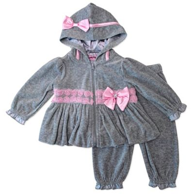 Nannette Baby® 2-Piece Velour Rosette Trim Bubble Hoodie and Pant Set in Grey/Pink