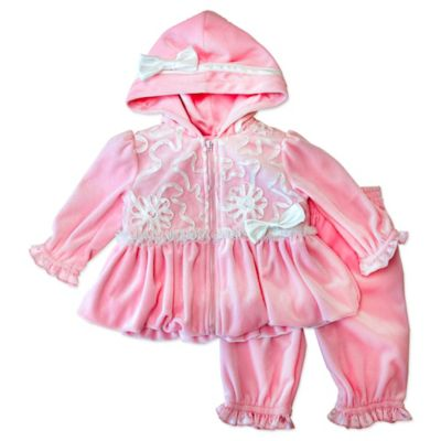 Nannette Baby® Size 3M 2-Piece Velour Ribbon Trim Bubble Hoodie and Pant Set in Pink